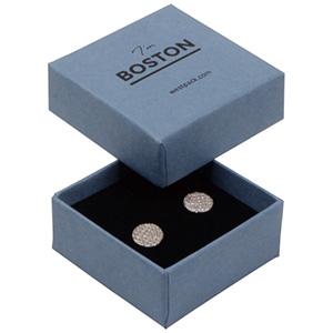Boston sieradendoosje voor oorbellen/ oorknopjes Grijsblauw karton/ Dubbelzijdig zwart-wit foam 50 x 50 x 22