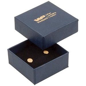 Boston sieradendoosje voor oorbellen/ oorknopjes Donkerblauw karton met linnen structuur/Zwart foam 50 x 50 x 22