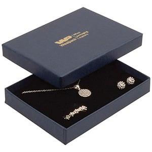Boston smykkeæske til sæt af ring/øreringe/vedhæng Mat mørkeblå karton med let struktur/ Sort skum 108 x 80 x 17