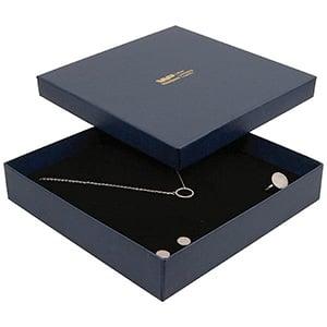 Boston écrin pour collier / parure, grand Carton bleu foncé, aspect de lin / Mousse noire 168 x 168 x 32