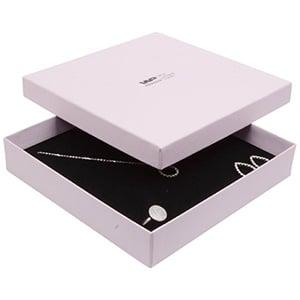 Boston écrin pour collier/ parure, grand Carton rose clair/ Mousse réversible noire-blanche 168 x 168 x 32