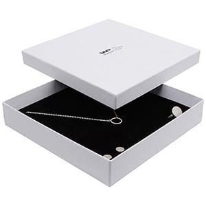 Boston sieradendoosje voor choker / collier, groot Wit karton met linnen structuur / Wit-zwart foam 168 x 168 x 32