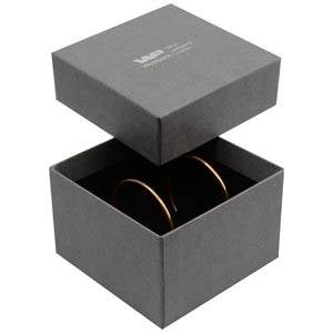 Boston XL écrin pour bracelet / pendentif Carton gris, aspect de lin/ Mousse noire 90 x 90 x 57