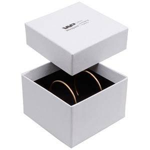 Boston XL écrin pour bracelet / pendentif Carton blanc, aspect de lin/ Mousse blanche-noir 90 x 90 x 57
