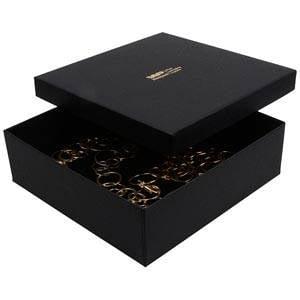 Boston XL sieradendoosje voor choker / collier Mat zwart karton/ Zwart foam 168 x 168 x 52