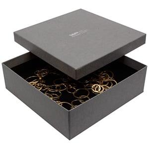 Boston XL écrin pour collier / parure Carton gris, aspect de lin/ Mousse noire 168 x 168 x 52