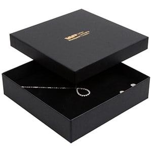 Boston sieradendoosje voor choker / collier, klein Mat zwart karton/ Zwart foam 130 x 130 x 32