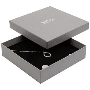 Boston sieradendoosje voor choker / collier, klein Grijs karton met linnen structuur / Zwart foam 130 x 130 x 32