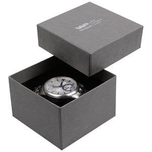 Boston Jewellery Box for Watch / Bangle Grey Linen-look Cardboard/ Black Foam 90 x 90 x 57