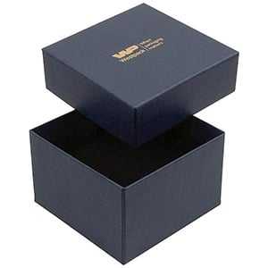 Boston Jewellery Box for Watch / Bangle Dark Blue Linen-look Cardboard/ Black Foam 90 x 90 x 57