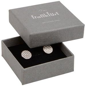 Frankfurt Jewellery Box for Ring/ Earrings/ Studs Grey Linen-look Cardboard/ Black Foam 50 x 50 x 17