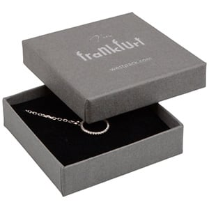Frankfurt Jewellery Box for Drop Earrings/ Pendant Grey Linen-look Cardboard/ Black Foam 65 x 65 x 17