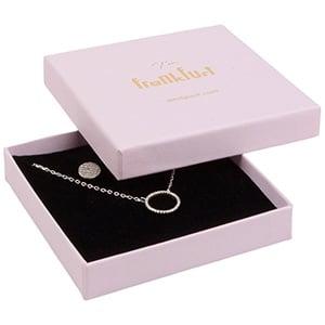 Frankfurt smykkeæske til halskæde / armbånd Mat rosa karton / Hvid-sort skum 86 x 86 x 17