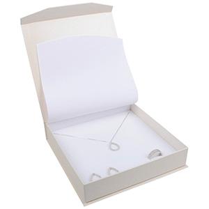Milano sieradendoosje voor collier/ choker Pearl ivoorwit karton/ Wit interieur 165 x 165 x 35