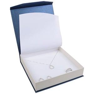 Milano sieradendoosje voor collier/ choker Pearl blauw-ivoorwit karton/ Wit interieur 165 x 165 x 35