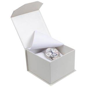 Milano Jewellery Box for Watch / Bangle Pearl White Cardboard / White Foam Interior 100 x 100 x 70