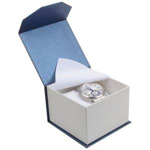 Milano Jewellery Box for Watch / Bangle Pearl Blue - White Cardboard / White Foam Interior 100 x 100 x 70