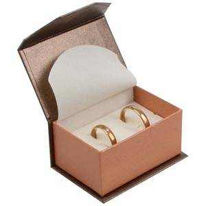Milano Jewellery Box for Wedding Rings / Cufflinks Pearl Bronze - Copper Cardboard / Cream Foam 67 x 46 x 35