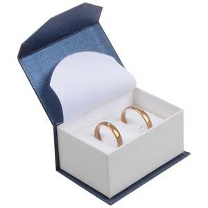 Milano Jewellery Box for Wedding Rings / Cufflinks Pearl Blue - White Cardboard / White Foam Interior 67 x 46 x 35