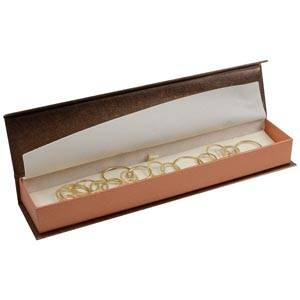 Milano Jewellery Box for Bracelet Pearl Bronze - Copper Cardboard / Cream Interior 227 x 50 x 26