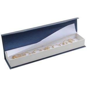 Milano sieradendoosje voor armband Pearl blauw-ivoorwit karton/ Wit interieur 227 x 50 x 26