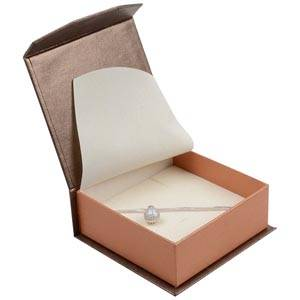 Milano Jewellery Box for Bangle / Large Pendant Pearl Bronze - Copper Cardboard / Cream Foam 85 x 81 x 32