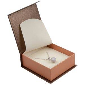 Milano smykkeæske til vedhæng/ øreringe Pearl Bronze - kobber karton / Creme indsats 65 x 70 x 27