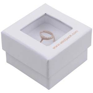 Boston Open Jewellery Box for Ring White Cardboard with Window / White Foam 50 x 50 x 32