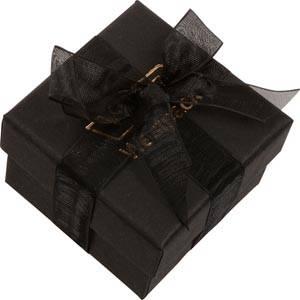 Barcelona smykkeæske til ring Sort karton med organzasløjfe / Sort skumindsats 50 x 50 x 32