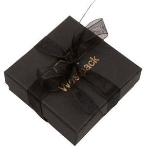 Barcelona smykkeæske til vedhæng/ øreringe Sort karton med organzasløjfe / Sort skumindsats 65 x 65 x 25