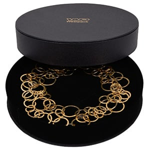 Paris Round Jewellery Box for Necklace Black Leatherette/ Black Velour Lining/ Black Foam 200 x 200 x 40