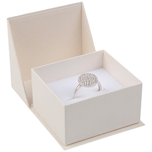 Miami sieradendoosje voor ring / trouwringen Pearl ivoorwit karton/ Wit foam 57 x 61 x 35