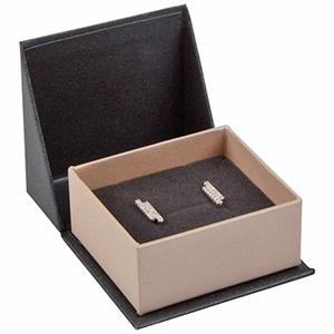 Miami sieradendoosje voor oorbellen / oorknopjes Pearl antraciet-zilver karton/ Antraciet foam 47 x 51 x 27