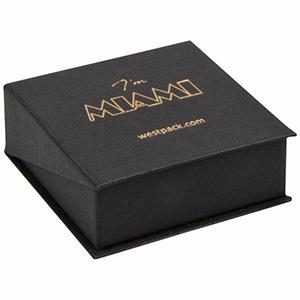 Miami smykkeæske til vedhæng/ øreringe Mat sort karton med struktur / Sort skumindsats 66 x 66 x 27
