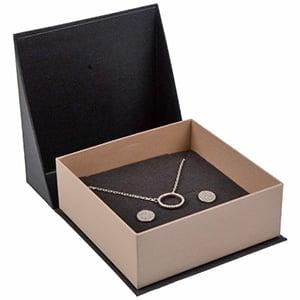 Miami sieradendoosje armring / hanger Pearl antraciet-zilver karton/ Antraciet foam 85 x 87 x 36