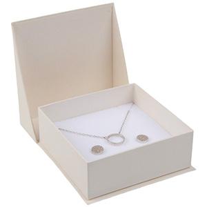 Miami sieradendoosje armring / hanger Pearl ivoorwit karton/ Wit foam 85 x 87 x 36