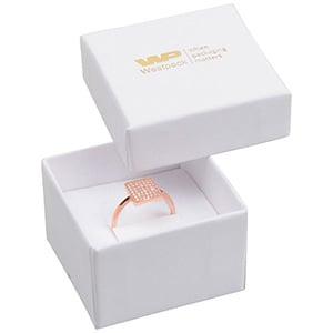 Santiago opakowania na pierścionki/ kolczyki Biały karton/biała  gąbka  50 x 50 x 32
