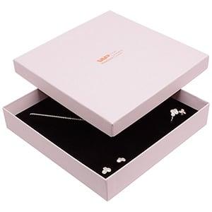 Santiago sieradendoosje voor collier / choker Poederroze karton / Zwarte foam insert 168 x 168 x 32