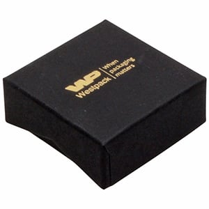 Amsterdam Postal Jewellery Box for Ring / Earrings Black Cardboard with Notch/ Black Foam 50 x 50 x 20