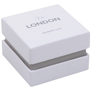 London Jewellery Box for Ring White Soft-Touch Cardboard/ White Foam 50 x 50 x 35