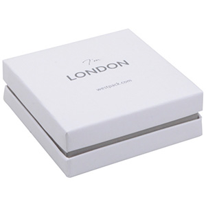 London Jewellery Box for Bangle / Large Pendant White Soft-Touch Cardboard/ White Foam 86 x 86 x 30