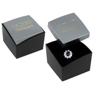 Copenhagen Jewellery Box for Ring Glossy Silver Lid/ Matt Black Base / Black Foam 43 x 43 x 32