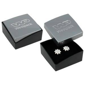 Copenhagen Jewellery Box Studs/ Earrings / Charms Glossy Silver Lid/ Matt Black Base / Black Foam 43 x 43 x 20