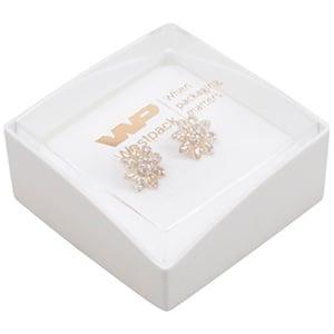 Copenhagen Open Jewellery Box for Studs/ Earrings Transparent Lid/ Matt White Base / White Foam 43 x 43 x 20