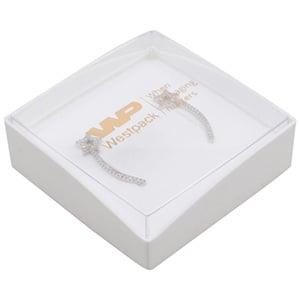 Copenhagen Open Jewellery Box  Earrings / Pendant Transparent Lid/ Matt White Base / White Foam 60 x 60 x 21