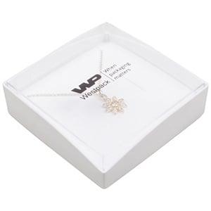 Copenhagen Open Jewellery Box for Bangle / Pendant Transparent Lid/ Matt White Base / White Foam 80 x 80 x 24
