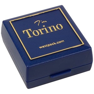 Torino Jewellery Box for Earrings / Studs/ Charms Blue plastic with gold tooling/ Black Foam 48 x 45 x 22