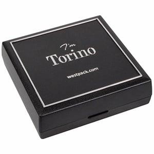 Torino sieradendoosje armring / hanger Zwart kunststof met zilveren bies/ Zwart foam 84 x 84 x 25