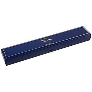 Torino sieradendoosje voor armband Blauw kunststof met gouden bies/ Zwart foam 215 x 35 x 21