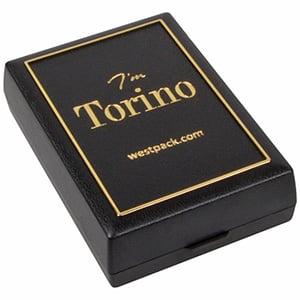 Torino aflang smykkeæske til vedhæng / øreringe Mat sort plast med guldkant / Sort skumindsats 55 x 80 x 20
